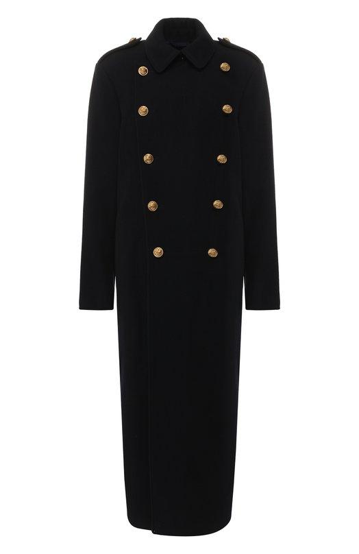 Купить Двубортное шерстяное пальто с контрастными пуговицами Polo Ralph Lauren, 211717836, Китай, Синий, Шерсть: 72%; Эластан: 5%; Полиэстер: 23%; Подкладка-текстиль: 100%;