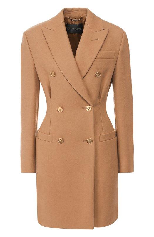 Купить Двубортное шерстяное пальто Versace, A81197/A108037, Италия, Бежевый, Шерсть: 100%; Подкладка-вискоза: 100%;