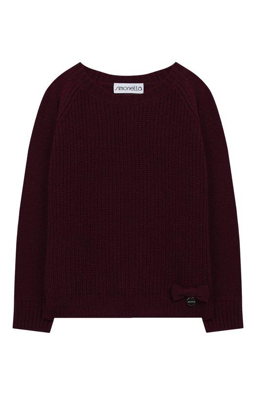 Купить Кашемировый пуловер Simonetta, 1J9140/JD480/10-14+, Италия, Бордовый, Кашемир: 100%;