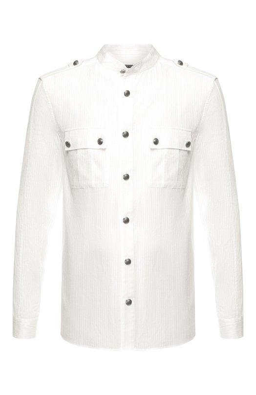 Купить Хлопковая рубашка с воротником мандарин Balmain, W8H/1186/T302, Болгария, Белый, Хлопок: 100%;