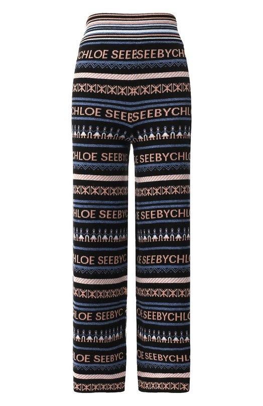 Купить Укороченные брюки с логотипом бренда See by Chloé, CHS18WMT01540, Китай, Разноцветный, Вискоза: 34%; Кашемир: 3%; Шерсть: 25%; Полиамид: 22%; Хлопок: 16%;