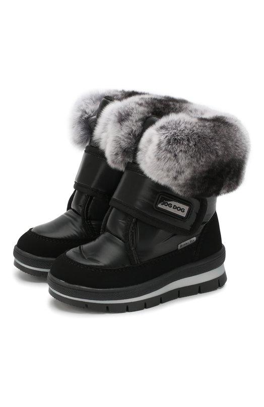 Купить Текстильные ботинки с меховой отделкой и застежками велькро Jog Dog, 13011R/TU0N0BALTIC0/23-28, Румыния, Черный, Подошва-резина: 100%; Текстиль: 100%; Отделка мех./кролик/: 100%; Стелька-шерсть: 100%; Подкладка-текстиль: 100%;