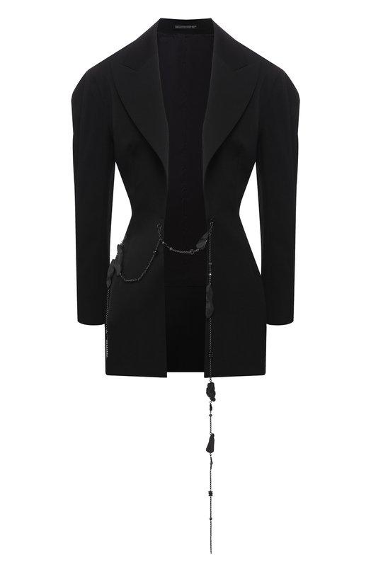 Купить Шерстяной жакет с декоративной отделкой Yohji Yamamoto, FV-J15-100, Япония, Черный, Шерсть: 100%;