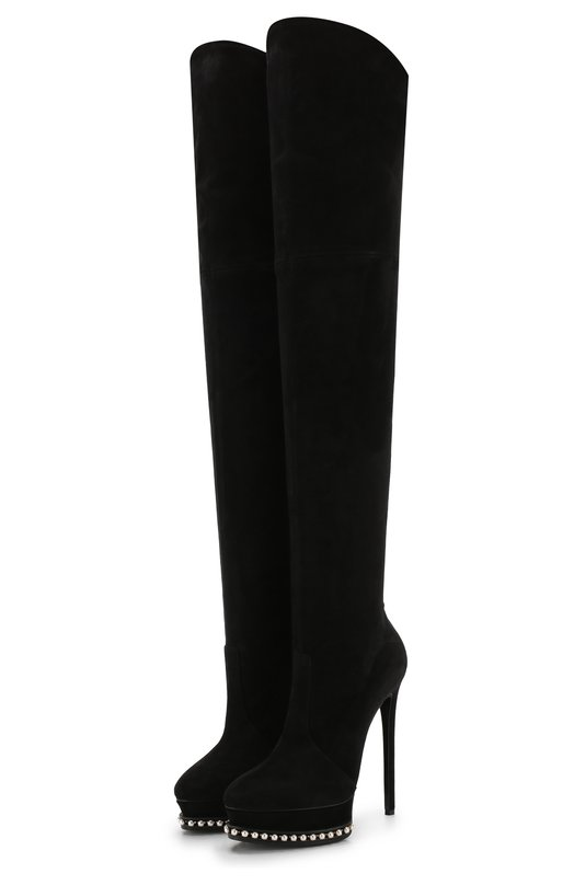 Купить Замшевые ботфорты Natali на шпильке и платформе Casadei, 1T780L1401Y591000, Италия, Черный, Подошва-кожа: 80%; Подошва-резина: 20%; Подкладка-кожа: 100%; Кожа: 100%;