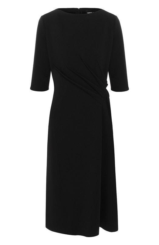 Купить Однотонное платье с драпировкой Giorgio Armani, 6ZAA61/AJLCZ, Италия, Черный, Полиамид: 72%; Эластан: 28%;