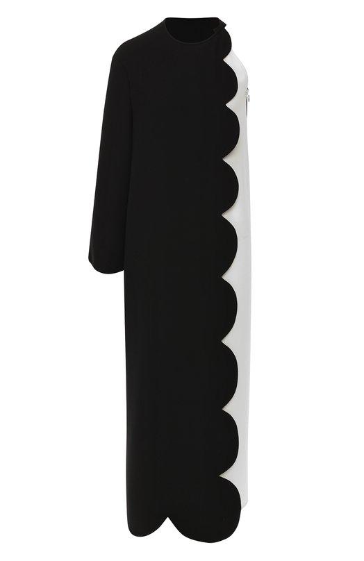 Купить Шелковое платье-макси на одно плечо Valentino, QB0AE3361MM, Италия, Черно-белый, Шелк: 100%;