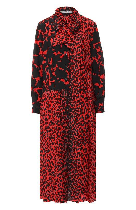 Купить Шелковое платье-миди с принтом Givenchy, BW208V10ZU, Италия, Красный, Шелк: 100%;