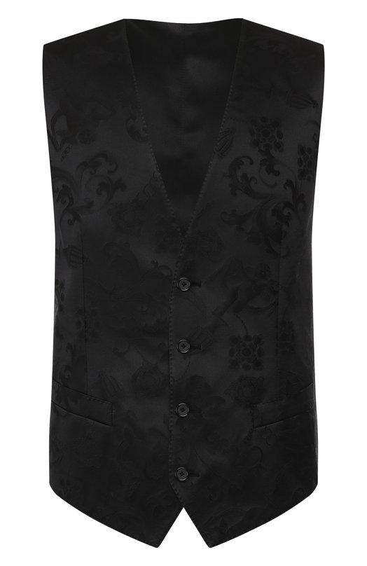 Купить Жилет из смеси хлопка и шелка на пуговицах Dolce & Gabbana, G700PT/FJM86, Италия, Темно-синий, Хлопок: 70%; Шелк: 30%;