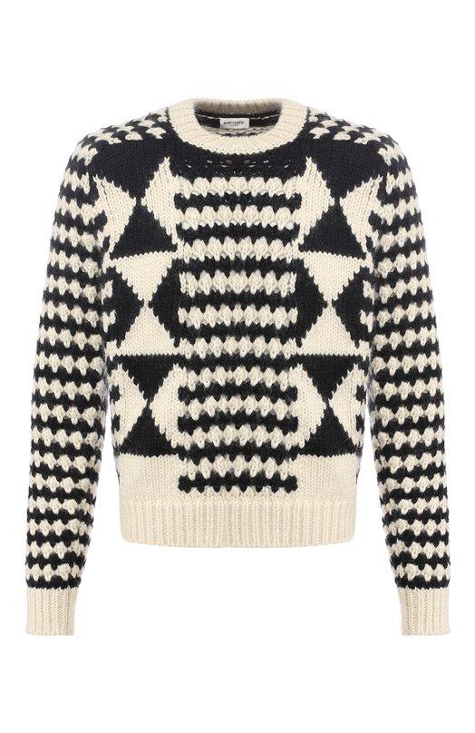 Купить Шерстяной свитер фактурной вязки Saint Laurent, 529648/YA2UG, Италия, Черно-белый, Полиамид: 8%; Шерсть: 52%; Шерсть альпака: 22%; Мохер: 18%;