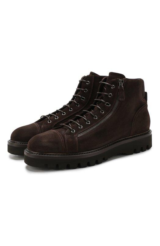 Купить Замшевые ботинки на шнуровке W.Gibbs, 0672001/CAM. VINTAGE, Италия, Коричневый, Подошва-резина: 100%; Подкладка-кожа: 100%; Кожа: 100%; Низ-кожа: 100%;
