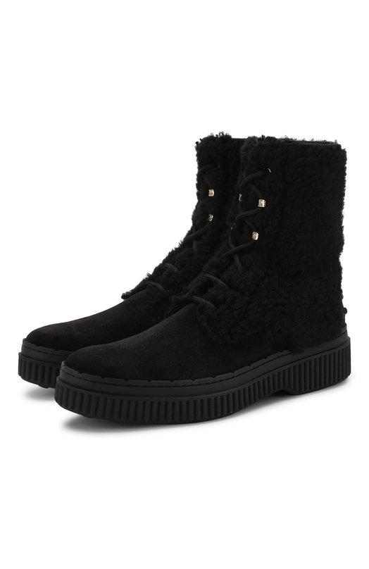Купить Замшевые ботинки с внутренней меховой отделкой Tod's, XXW39A0AN60K70, Италия, Черный, Мех/овчина/: 60%; Кожа: 40%; Стелька-кожа: 100%; Подошва-резина: 100%; Подкладка-кожа: 100%; Отделка-мех нат.: 100%;
