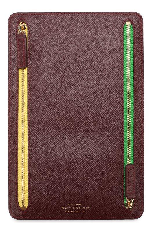 Купить Кожаное портмоне с отделениями на молнии Smythson, 1021953, Испания, Бордовый, Кожа натуральная: 100%;