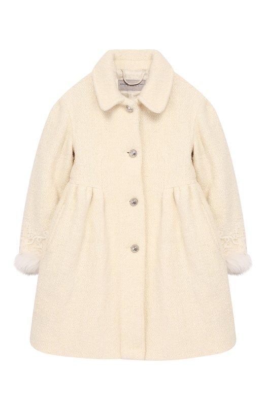 Купить Пальто из смеси шерсти и хлопка с отделкой из меха лисы Ermanno Scervino, 43 I CP07 PAN/4-8, Италия, Белый, Шерсть: 72%; Хлопок: 17%; Полиамид: 11%; Отделка мех./лиса/: 100%;