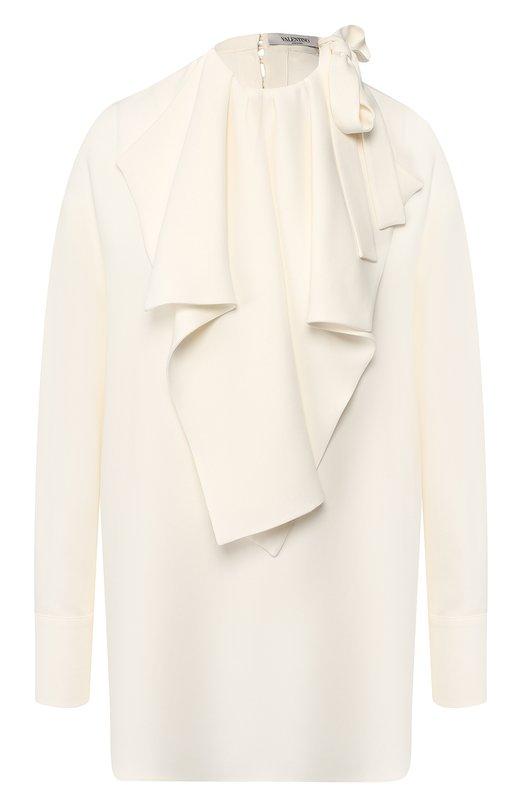 Купить Однотонная шелковая блуза свободного кроя Valentino, QB0AE01B1MM, Италия, Кремовый, Шелк: 100%;