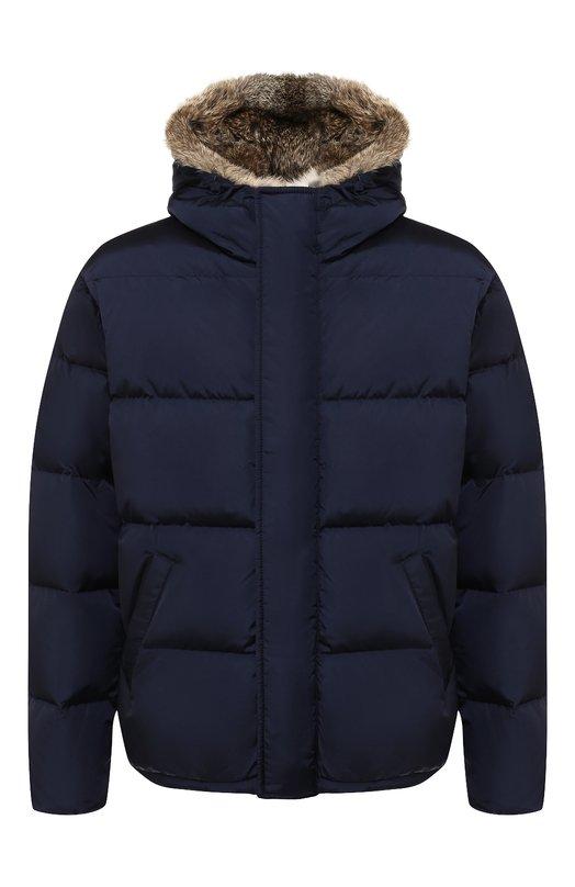 Купить Пуховая куртка на молнии с меховой отделкой капюшона Lempelius, 3000/667R, Венгрия, Синий, Полиамид: 99%; Наполнитель-Гусиный пух: 90%; Подкладка-Полиамид: 100%; Наполнитель-Гусиное перо: 10%; Полиуретан: 1%;