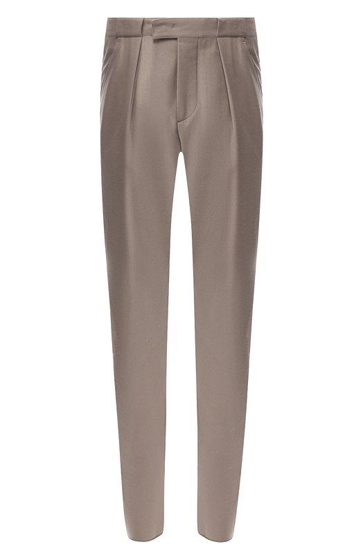 Купить Шерстяные брюки прямого кроя Giorgio Armani, 8WGPP01F/T004K, Италия, Бежевый, Шерсть: 100%;