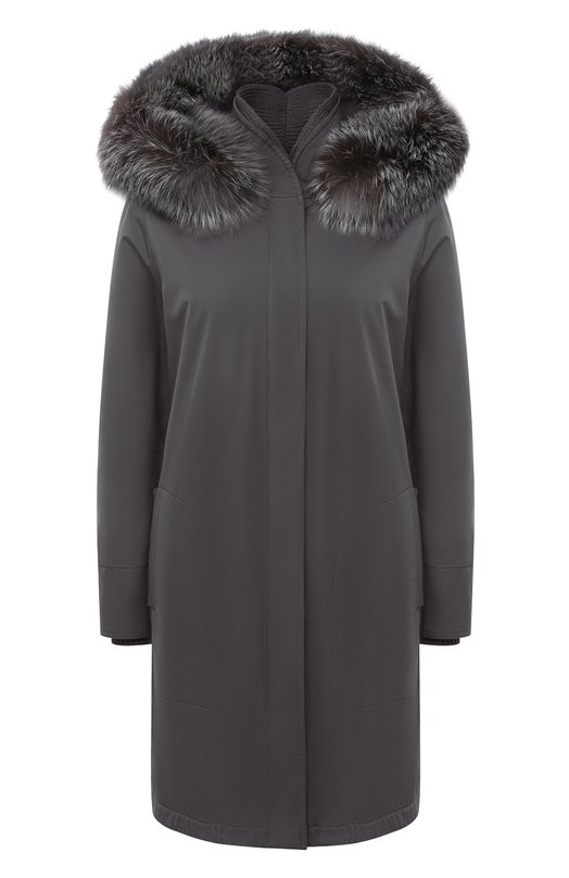 Купить Однотонная куртка с меховой отделкой капюшона Loro Piana, FAE5502, Италия, Серый, Полиамид: 100%; Полиуретан: 100%; Подкладка-кашемир: 100%; Набивка-полиэстер: 100%; Отделка капюшона-мех/песец/: 100%;