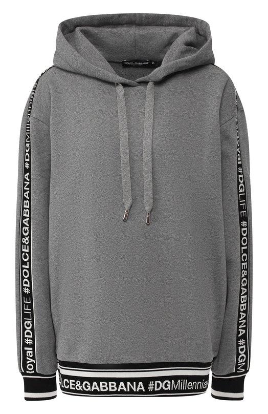 Купить Хлопковый пуловер с капюшоном Dolce & Gabbana, F9D14T/FU7DU, Италия, Серый, Хлопок: 100%;