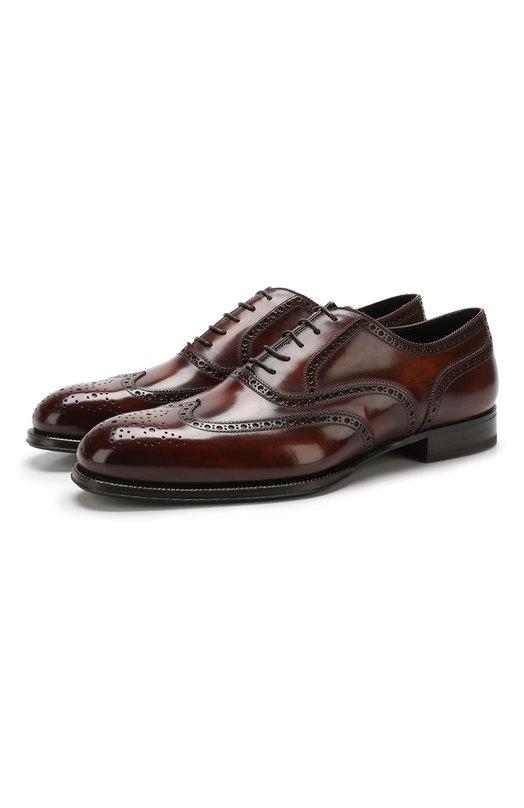 Купить Кожаные оксфорды Venezia на шнуровке с брогированием W.Gibbs, 7078006/FRENCH DEC0, Италия, Коричневый, Подошва-Кожа: 100%; Подкладка-Кожа: 100%; Кожа: 100%; Низ-Кожа: 100%;