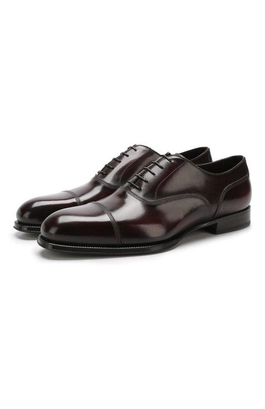 Купить Кожаные оксфорды на шнуровке W.Gibbs, 7078005/FRENCH DEC0, Италия, Бордовый, Подошва-Кожа: 100%; Подкладка-Кожа: 100%; Кожа: 100%; Низ-Кожа: 100%;