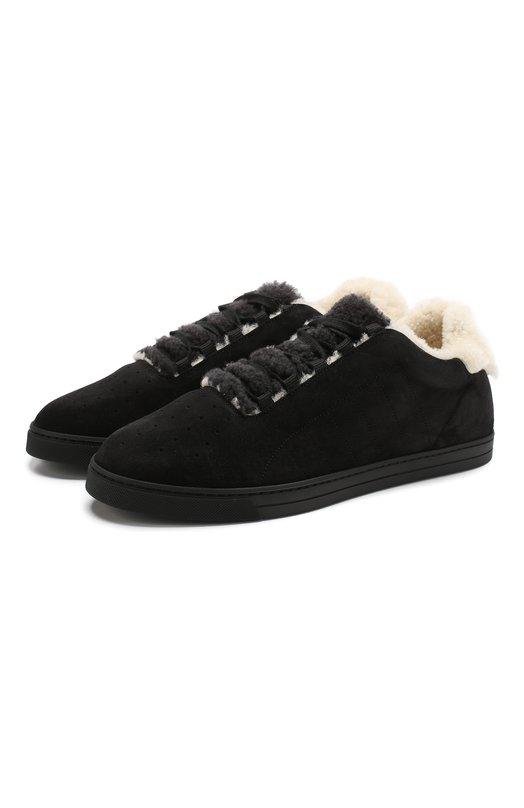 Купить Замшевые кеды на шнуровке с внутренней меховой отделкой Fendi, 7E1168 A3XA, Италия, Черный, Подошва-Резина: 100%; Подкладка-Мех/овчина/: 100%; Кожа: 100%; Низ-Мех/овчина/: 100%;