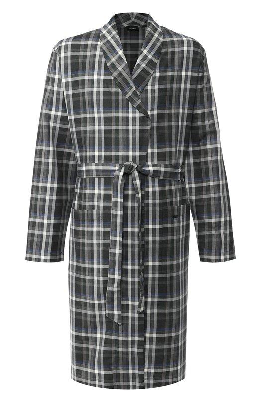 Купить Хлопковый халат с поясом Hanro, 075805, Португалия, Темно-серый, Хлопок: 100%;