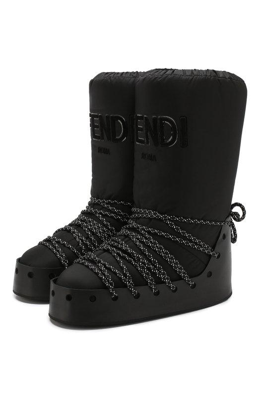 Купить Утепленные сапоги на шнуровке Fendi, 8U6795 A3T6, Италия, Черный, Подошва-резина: 100%; Текстиль: 100%; Подкладка-текстиль: 100%; Низ-текстиль: 100%;
