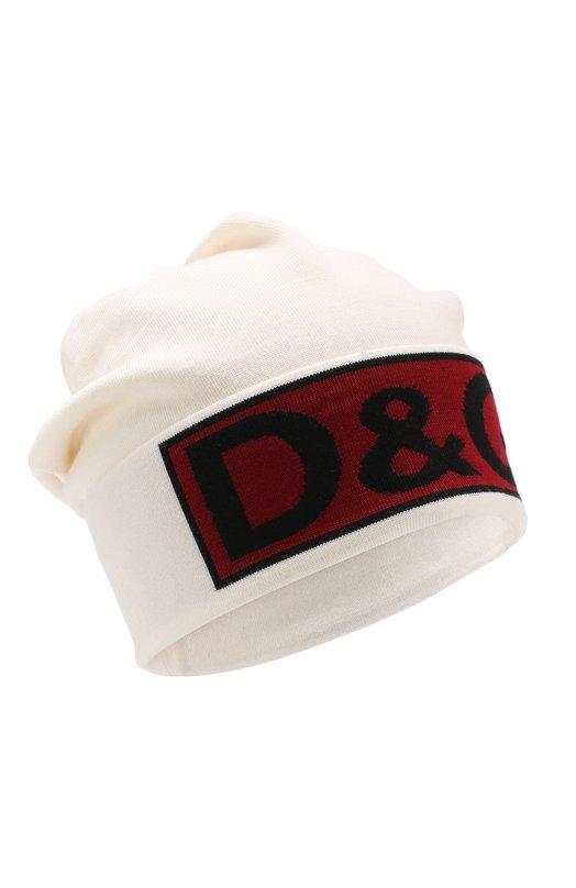 Купить Шерстяная шапка с логотипом бренда Dolce & Gabbana, GX341T/JAVIB, Италия, Белый, Шерсть: 100%;