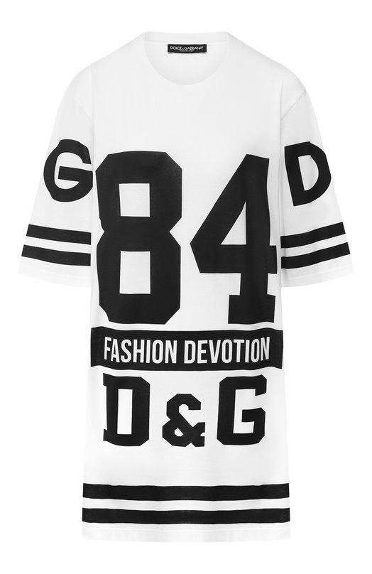 Купить Удлиненная хлопковая футболка с логотипом бренда Dolce & Gabbana, F8K82T/FU7EQ, Италия, Белый, Хлопок: 100%;