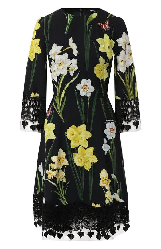 Купить Приталенное платье с принтом и кружевной отделкой Dolce & Gabbana, F6A2ET/FSRJ2, Италия, Черный, Вискоза: 80%; Хлопок: 8%; Полиэстер: 2%; Полиамид: 10%;