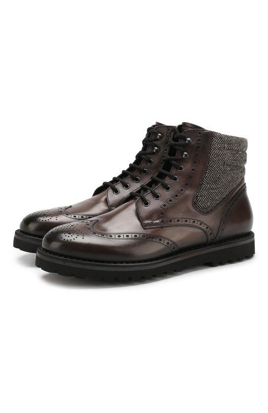 Купить Кожаные ботинки с брогированием и внутренней меховой отделкой W.Gibbs, 0929032/0LD ENGLAND, Италия, Темно-серый, Кожа: 80%; Текстиль: 20%; Подкладка-Мех/овчина/: 100%; Низ-Мех/овчина/: 100%; Подошва-Резина: 100%;