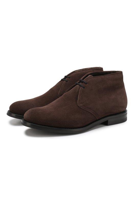 Купить Замшевые ботинки на шнуровке с внутренней меховой отделкой Church's, ETC104/9VE, Великобритания, Темно-коричневый, Подошва-Резина: 100%; Подкладка-Мех/овчина/: 100%; Подкладка-Мех/овчина/: 100%; Кожа: 100%; Низ-Мех/овчина/: 100%;