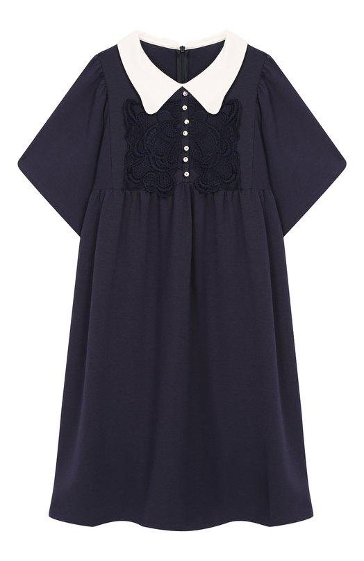 Платье свободного кроя с кружевной отделкой Chloé Chloe
