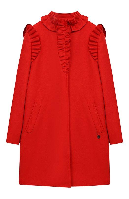 Купить Шерстяное пальто прямого кроя с оборками Lanvin, 4J2530/JB660/10-14, Италия, Красный, Шерсть: 80%; Полиамид: 20%; Подкладка-текстиль: 100%;