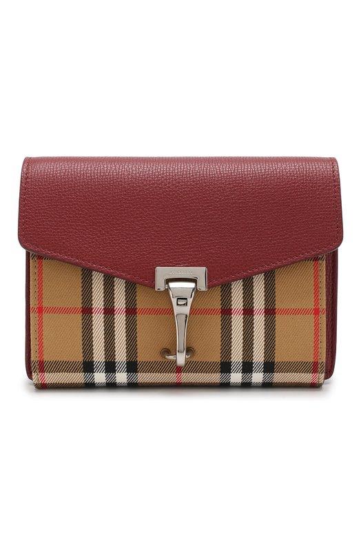 Купить Кожаная сумка в клетку Vintage Check Burberry, 4079967, Италия, Красный, Кожа натуральная: 100%;