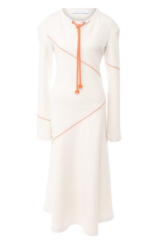 Купить Хлопковое платье-миди с контрастной прострочкой Walk of Shame, D006-FW18-19, Россия, Белый, Хлопок: 100%;