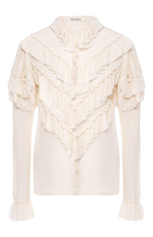 Купить Шелковая блуза с оборками и воротником-стойкой Rodarte, F1801B, США, Белый, Шелк: 100%;
