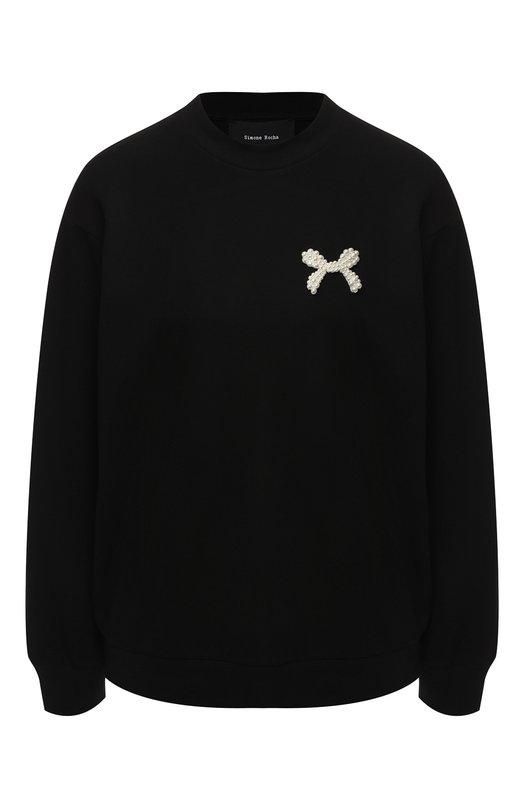 Купить Вязаный пуловер с декоративной отделкой Simone Rocha, 3584B/0555, Португалия, Черный, Вискоза: 72%; Эластан: 4%; Полиамид: 24%;