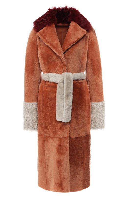 Купить Меховое пальто из овчины с поясом DROMe, DPD5548/D1467, Италия, Разноцветный, Мех натуральный: 100%;