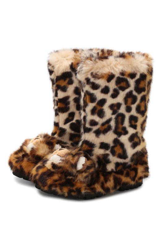Купить Утепленные сапоги на шнуровке с декором Dolce & Gabbana, D10756/AM883/29-36, Италия, Коричневый, Акрил: 83%; Полиэстер: 17%; Подошва-резина: 100%; Подкладка-кожа: 100%; Низ-кожа: 100%;