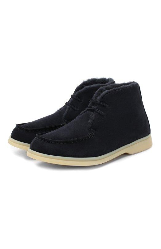 Купить Замшевые ботинки с внутренней меховой отделкой Loro Piana, FAF4333, Италия, Темно-синий, Подошва-резина: 100%; Подкладка-мех/нутрия/: 100%; Кожа: 100%; Низ-мех/нутрия/: 100%;