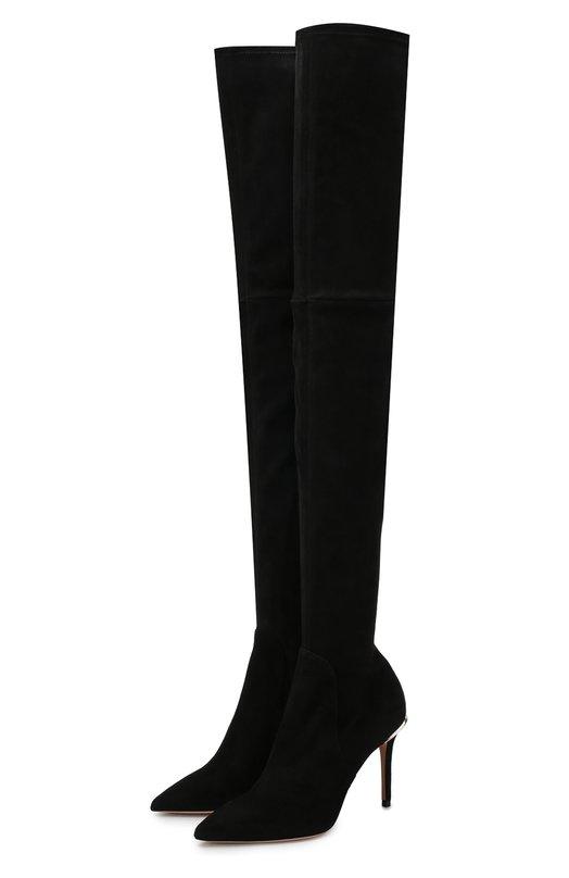 Купить Замшевые ботфорты на шпильке BOSS, 50397837, Италия, Черный, Подошва-кожа: 100%; Подкладка-кожа: 100%; Замша: 100%;