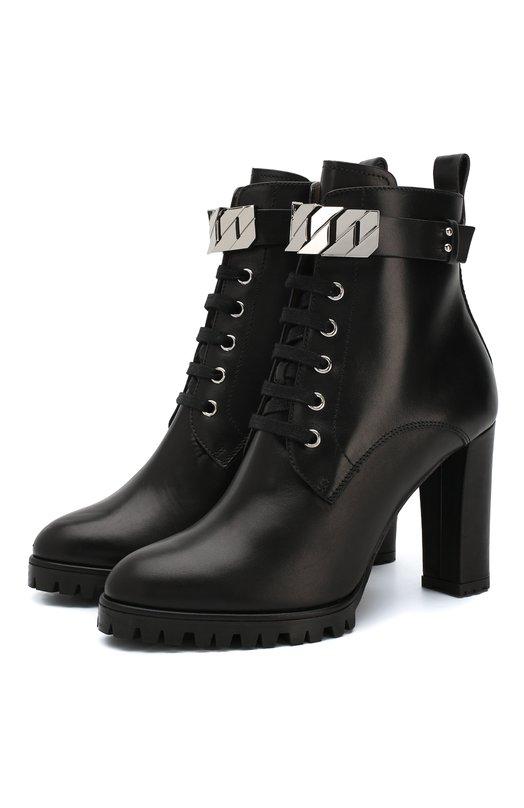 Купить Кожаные ботильоны на устойчивом каблуке BOSS, 50397834, Италия, Черный, Подошва-резина: 100%; Подкладка-кожа: 100%; Кожа: 100%;