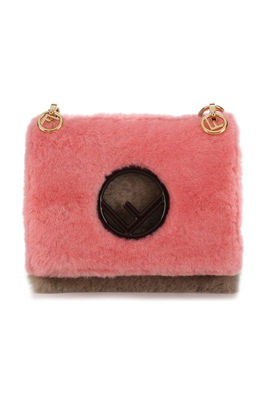 Купить Сумка Kan I small из овчины Fendi, 8BT286 A5A3, Италия, Светло-розовый, Мех/овчина/: 100%;