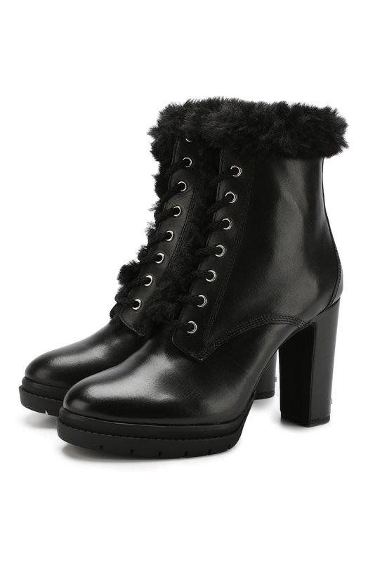 Купить Кожаные ботильоны на устойчивом каблуке DKNY, K3846332, Китай, Черный, Подошва-резина: 100%; Подкладка-мех искусств.: 100%; Кожа: 100%; Низ-мех искусств.: 100%;