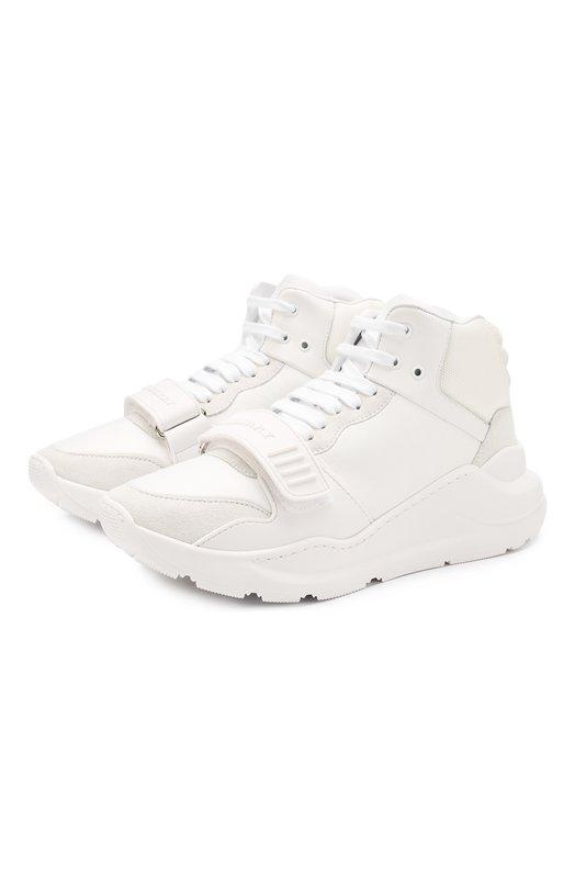 Купить Высокие комбинированные кроссовки на шнуровке Burberry, 4078200, Италия, Белый, Подкладка-кожа: 65%; Кожа: 51%; Текстиль: 49%; Подкладка-текстиль: 35%; Подошва-резина: 100%;