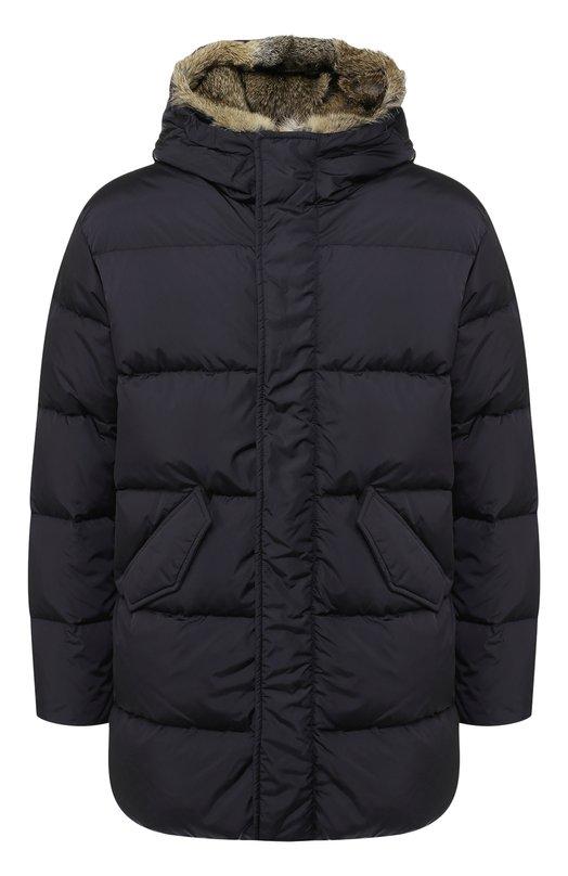 Купить Пуховая куртка на молнии с меховой отделкой капюшона Lempelius, 3000/667R, Венгрия, Темно-синий, Полиамид: 99%; Наполнитель-Гусиный пух: 90%; Подкладка-Полиамид: 100%; Наполнитель-Гусиное перо: 10%; Полиуретан: 1%;