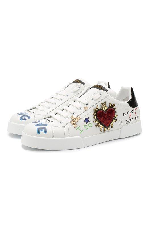 Купить Кожаные кроссовки Portofino на шнуровке с декоративной отделкой Dolce & Gabbana, CS1558/AV678, Италия, Белый, Кожа: 80%; Низ-Кожа: 100%; Подошва-Резина: 100%; Подкладка-Кожа: 100%; Резина: 10%; Текстиль: 10%;
