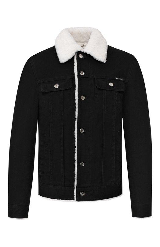 Купить Джинсовая куртка с внутренней меховой отделкой Dolce & Gabbana, G9MM7Z/G8AC8, Италия, Черный, Подкладка-овчина: 70%; Подкладка-Вискоза: 30%; Хлопок: 100%;
