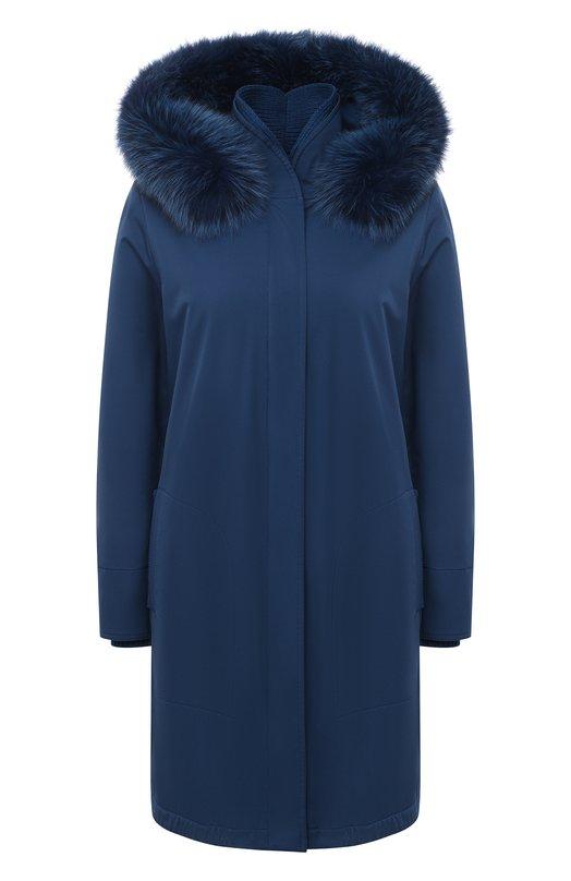 Купить Однотонная куртка с меховой отделкой капюшона Loro Piana, FAE5502, Италия, Синий, Полиамид: 100%; Полиуретан: 100%; Подкладка-кашемир: 100%; Набивка-полиэстер: 100%; Отделка капюшона-мех/песец/: 100%;